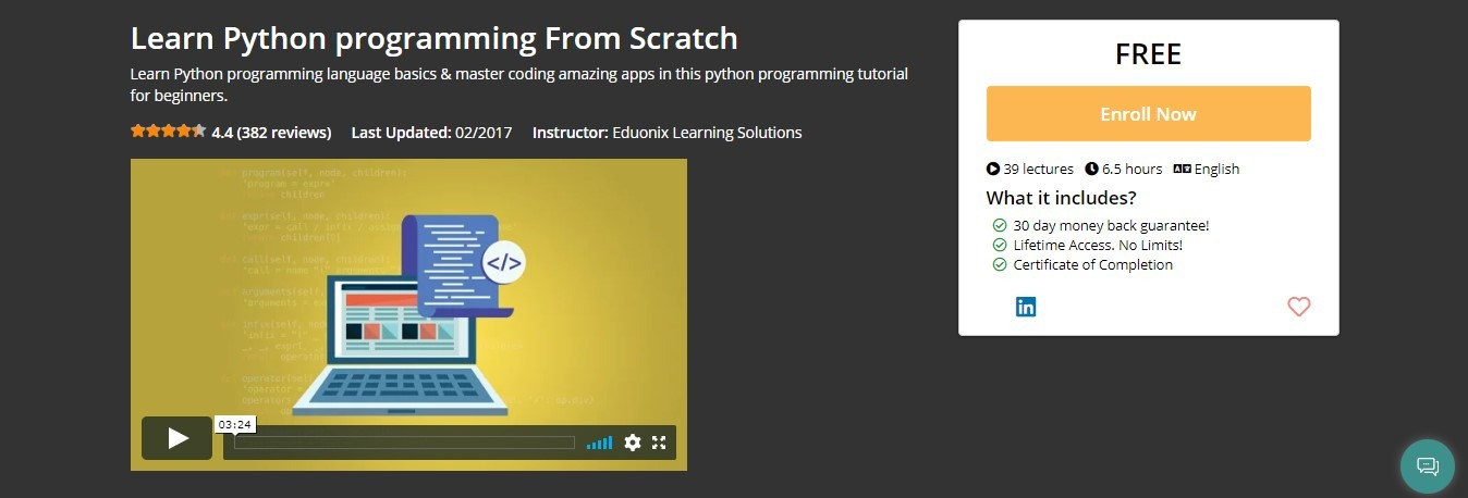 Eduonix - Learn Python programming From Scratch Coupon