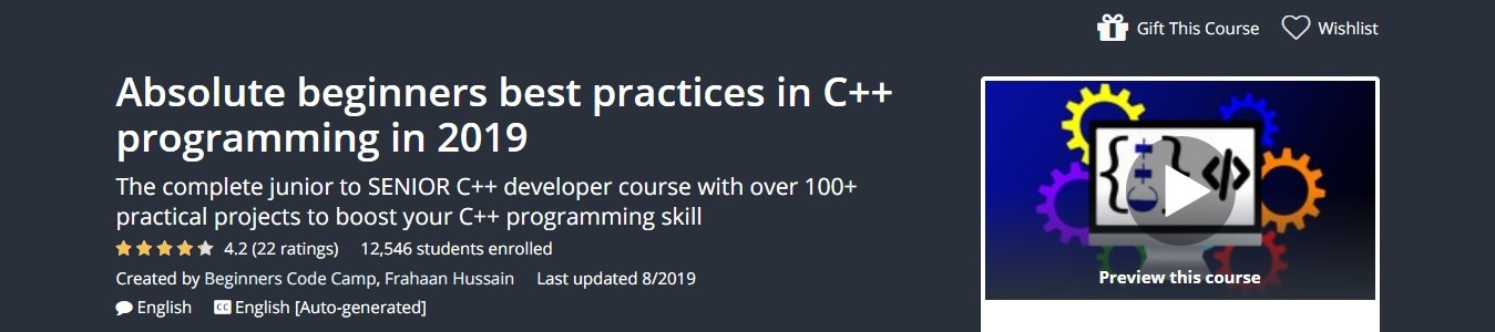 Absolute beginners best practices in C++ programming in 2019 Udemy Course Coupon