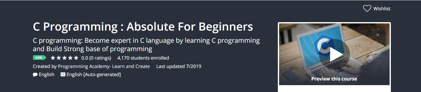 C Programming : Absolute For Beginners