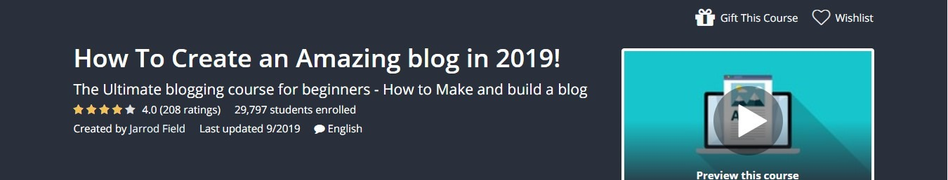 Udemy - How To Create an Amazing blog in 2019 Course Coupon